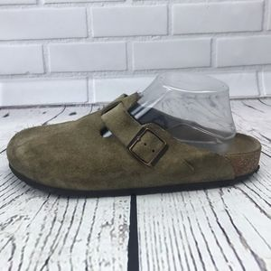 Birkenstock Tan Suede Boston Clogs Size 41 US 11